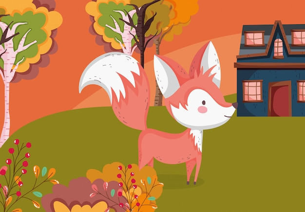 Autumn illustration of cute fox grass cottage trees