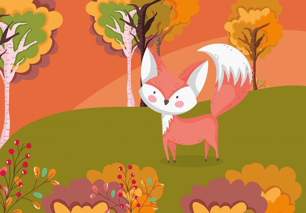 Autumn illustration of cute fox in the meadow foliage
