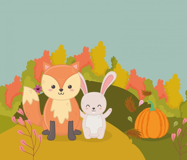 Autumn illustration of cute fox and rabbit pumpkin bushes leaves