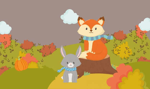 Autumn illustration of cute fox and rabbit with scarf animal