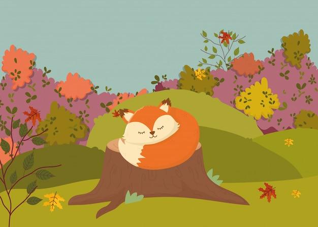 Autumn illustration of cute fox with scarf sleeping on trunk