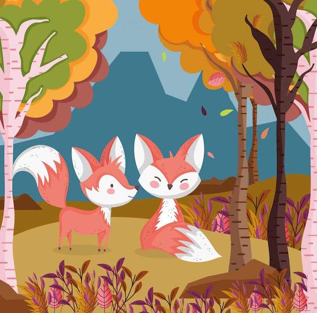 Autumn illustration of cute foxes in the field