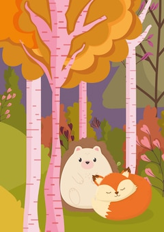 Autumn illustration of cute hedgehog and fox trees forest park