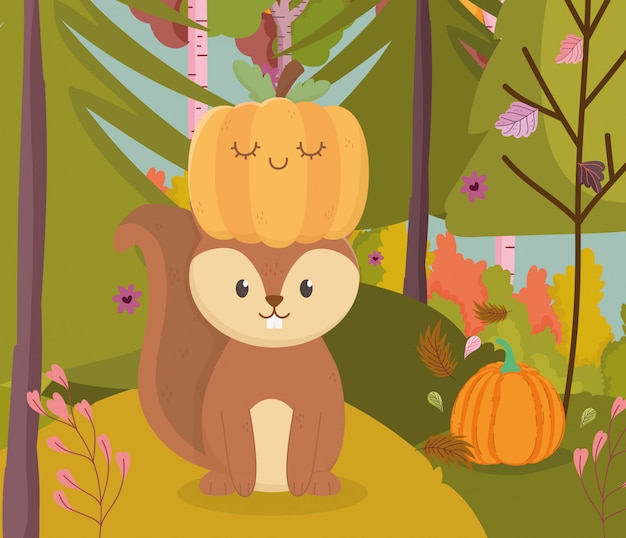 Autumn illustration of cute squirrel with pumpkin in head