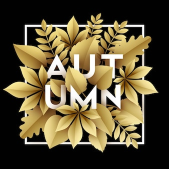 Autumn illustration design with golden paper cut autumn leaves.