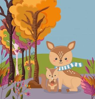 Осенние иллюстрации милые олени и белка с желудь