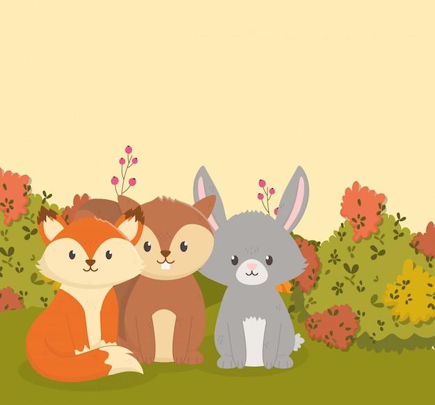 Осенние иллюстрации милой лисы кролика и белка листья