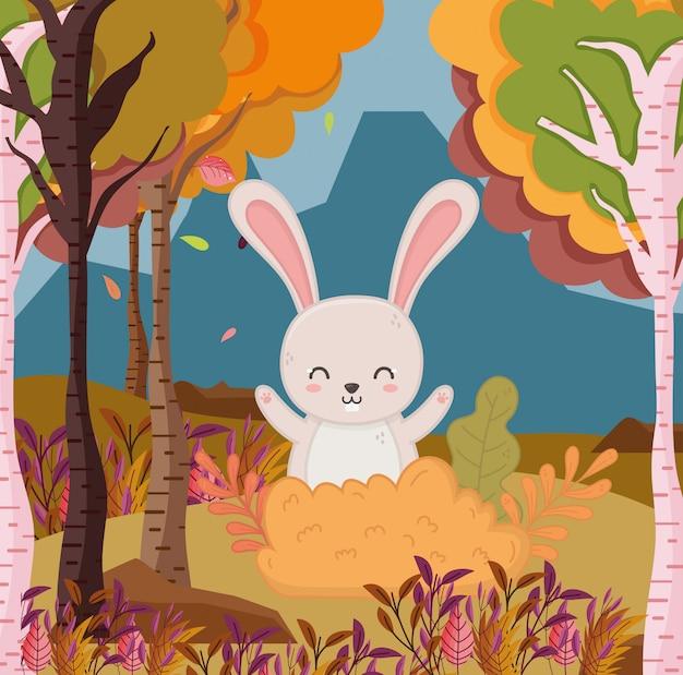 Autumn illustration of rabbit leaves bush forest tree foliage