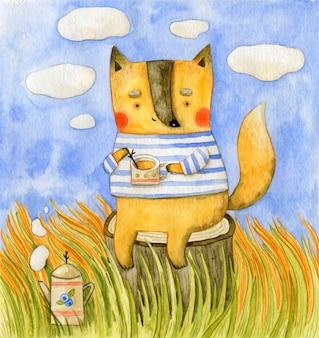 お茶を持ってかわいいキツネと秋のイラスト