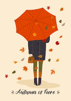 Autumn illustration with cute woman under umbrella