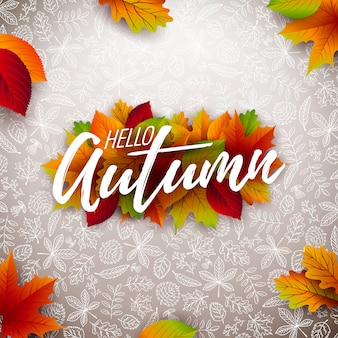 Autumn illustration with falling leaves and lettering on white background