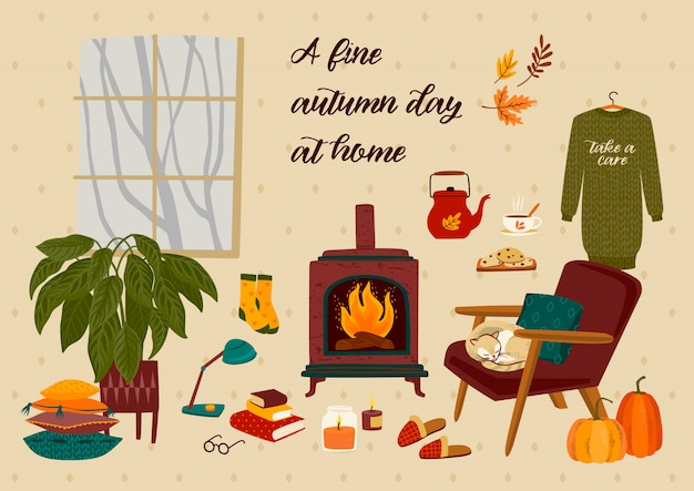 Autumn illustration with homely cute things
