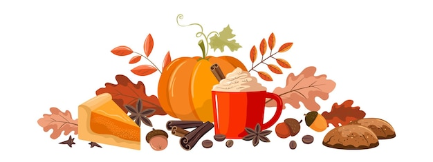 Autumn illustration with pumpkin and coffee. the lower horizontal border.