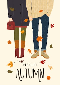 Autumn illustration with romantic couple