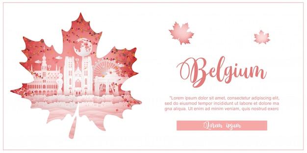 Осень в бельгии с концепцией сезона для туристической открытки, плаката, туристической рекламы всемирно известных достопримечательностей
