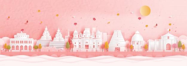 떨어지는 나뭇잎과 종이 컷 스타일 일러스트에서 세계적으로 유명한 랜드 마크와 인도 첸나이의 가을