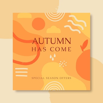 Autumn instagram post template with abstract shapes