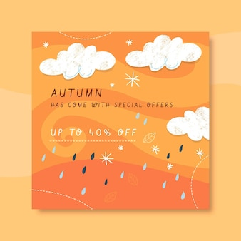 Autumn instagram post template with clouds and rain