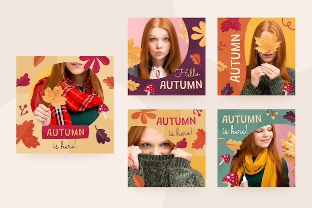 Autumn instagram posts collection with photo