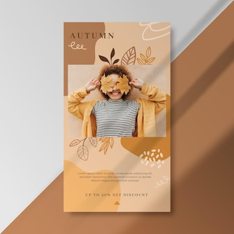 Autumn instagram story template with woman and leaves