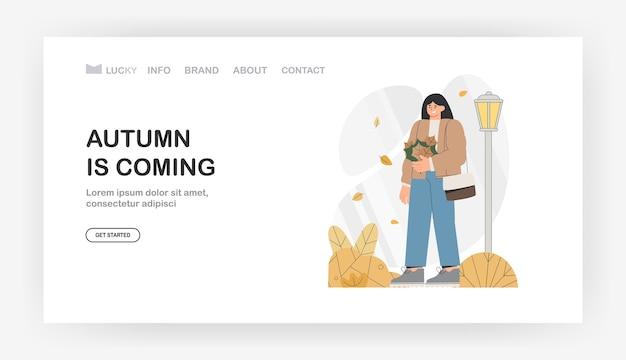 Autumn is coming for landing page, banner. female character walks through the autumn park holding an autumn bouquet of leaves.