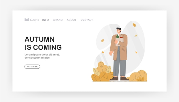 Autumn is coming for landing page, banner. woman walks through the autumn park holding an autumn bouquet of leaves.