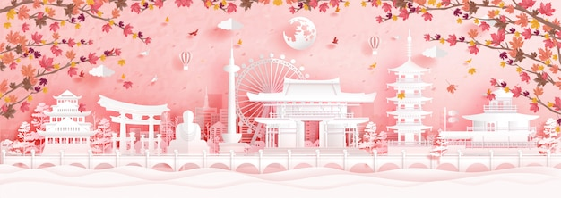 Autumn in kyoto, japan  in paper cut style vector illustration.