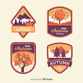 Autumn label collection in flat style