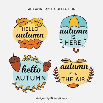 Autumn labels collection with leaves