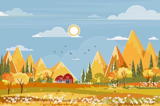 Осенний пейзаж поля фермы с голубым небом, страна чудес середины осени в сельской местности с небом облаков и солнцем, горами, травой в оранжевой листве.
