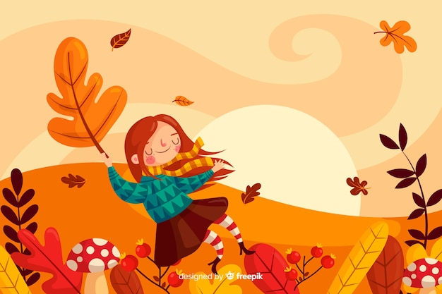 Autumn landscape background flat designlan