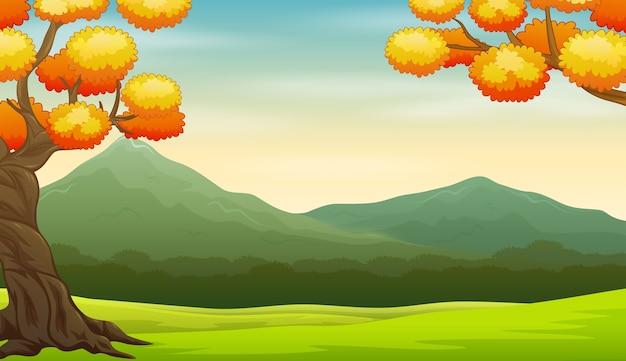 フィールドと山と秋の風景の背景