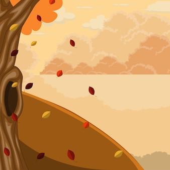 Осенний пейзаж фон с озером и деревьями