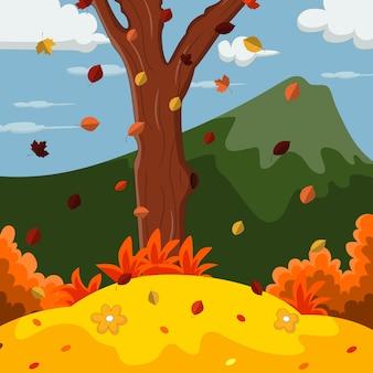 Осенний пейзаж фон с горой