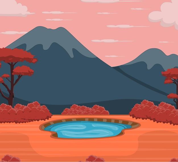 Осенний пейзаж фон с прудом и горой