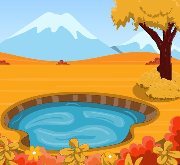 Осенний пейзаж фон с прудом