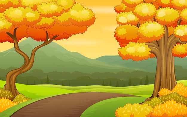 Autumn landscape background with road and mountains