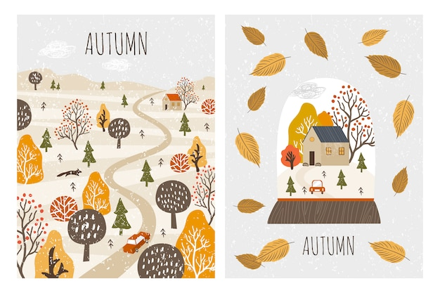 Autumn landscape cards. autumn
