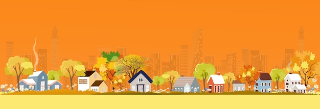 Autumn landscape in city, illustration panorama view cartoon fall season in the town with orange foliage,peaceful panoramic natural in minimalist style, natural in the city
