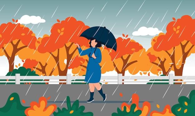 黄色の木の秋の風景都市女性傘雨水たまり。秋の日を楽しんでいます。通りを歩いているレインコートの女性。雨の下を歩いている女の子umbralla。