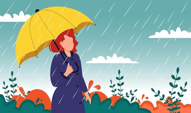 黄色の木の秋の風景都市女性傘雨水たまり。