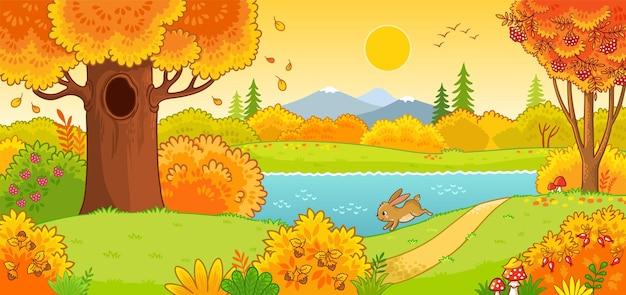 秋の風景秋の森を駆け抜けるかわいいうさぎ