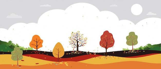 田舎の秋の風景の森の木、オレンジ色の葉で木から落ちてくる葉を持つ中秋のフィールドのベクトルの漫画。