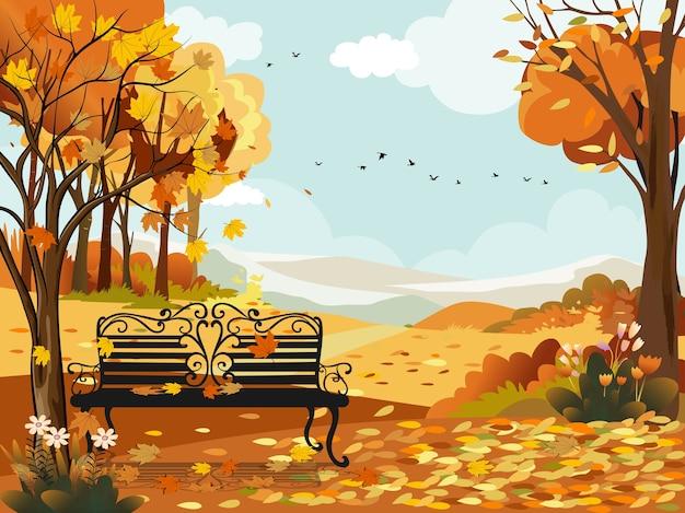 Осенний пейзаж лес со скамейкой под деревом