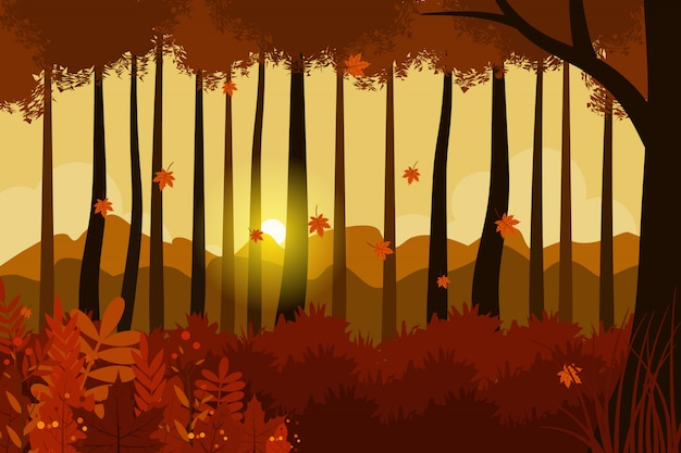 Autumn landscape illustration