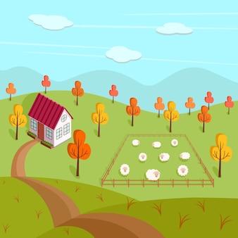 農場、家、羊のいる牧草地の秋の風景。村のベクトルイラスト。