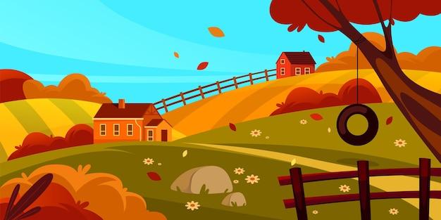 가을 풍경 또는 가을 풍경 벡터 배너