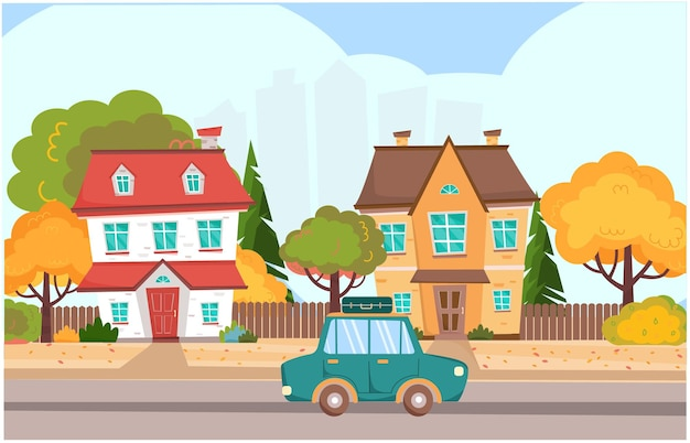 Autumn landscape in town with colorful houses and car auto with a suitcase is driving on the road
