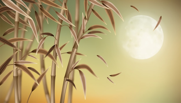 Autumn landscape with bamboo. mid autumn festival background