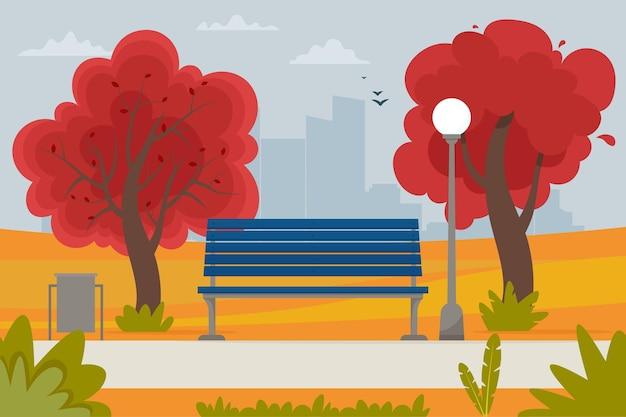 公園と木々のベンチと秋の風景。フラットスタイルのベクトル図
